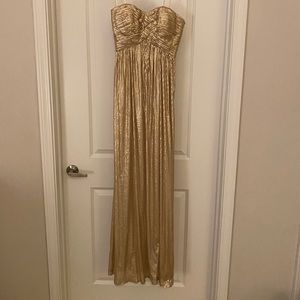 La Femme gold sequin strapless sweetheart gown